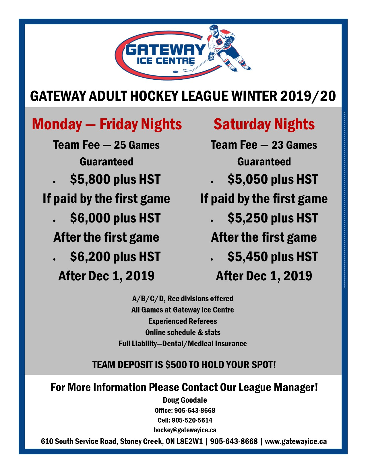 Hockey League Flyer - Winter 2019-20