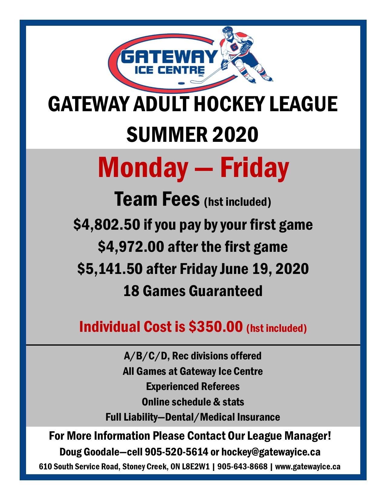 Hockey League Flyer - Summer 2020
